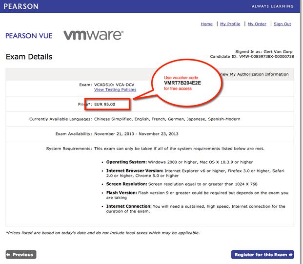 how to get the vmware exam voucher